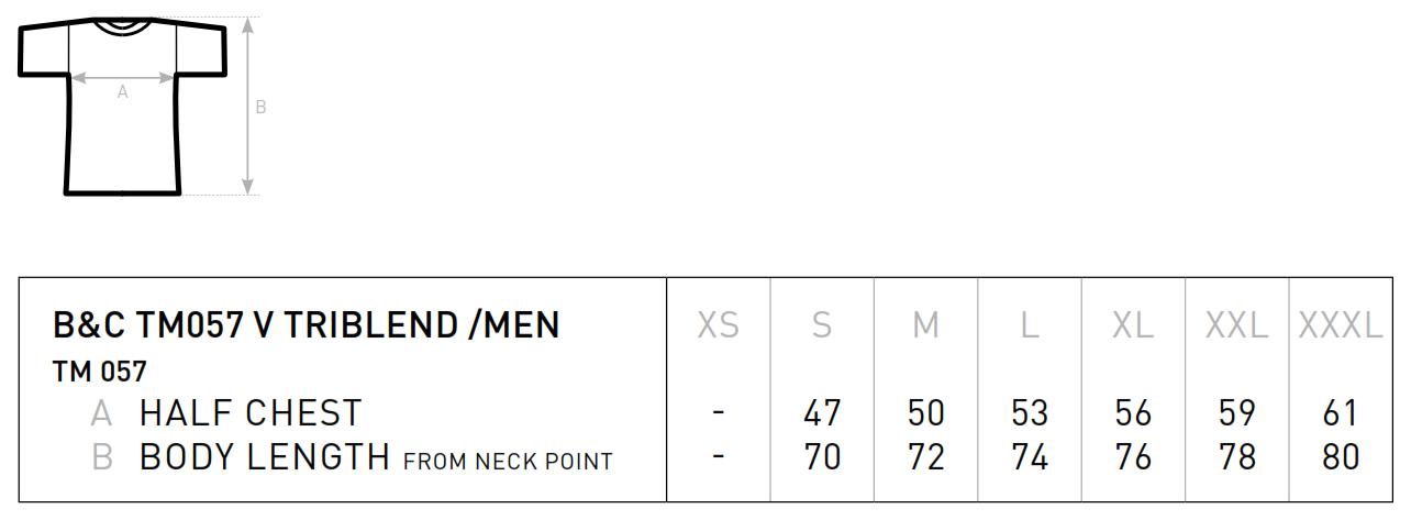 B&C: Triblend V-Neck T-Shirt Men TM057