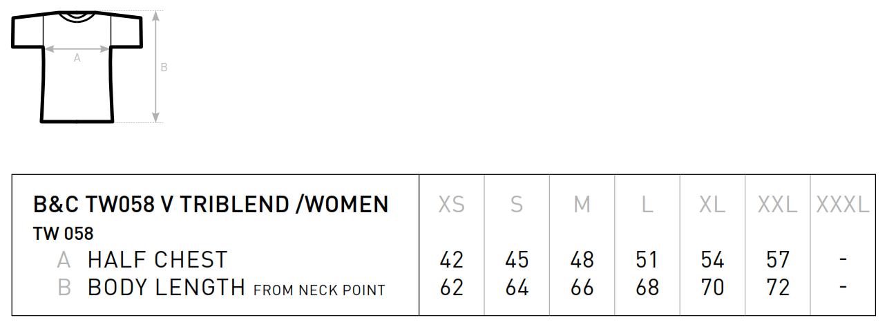 B&C: Triblend V-Neck T-Shirt Women TW058