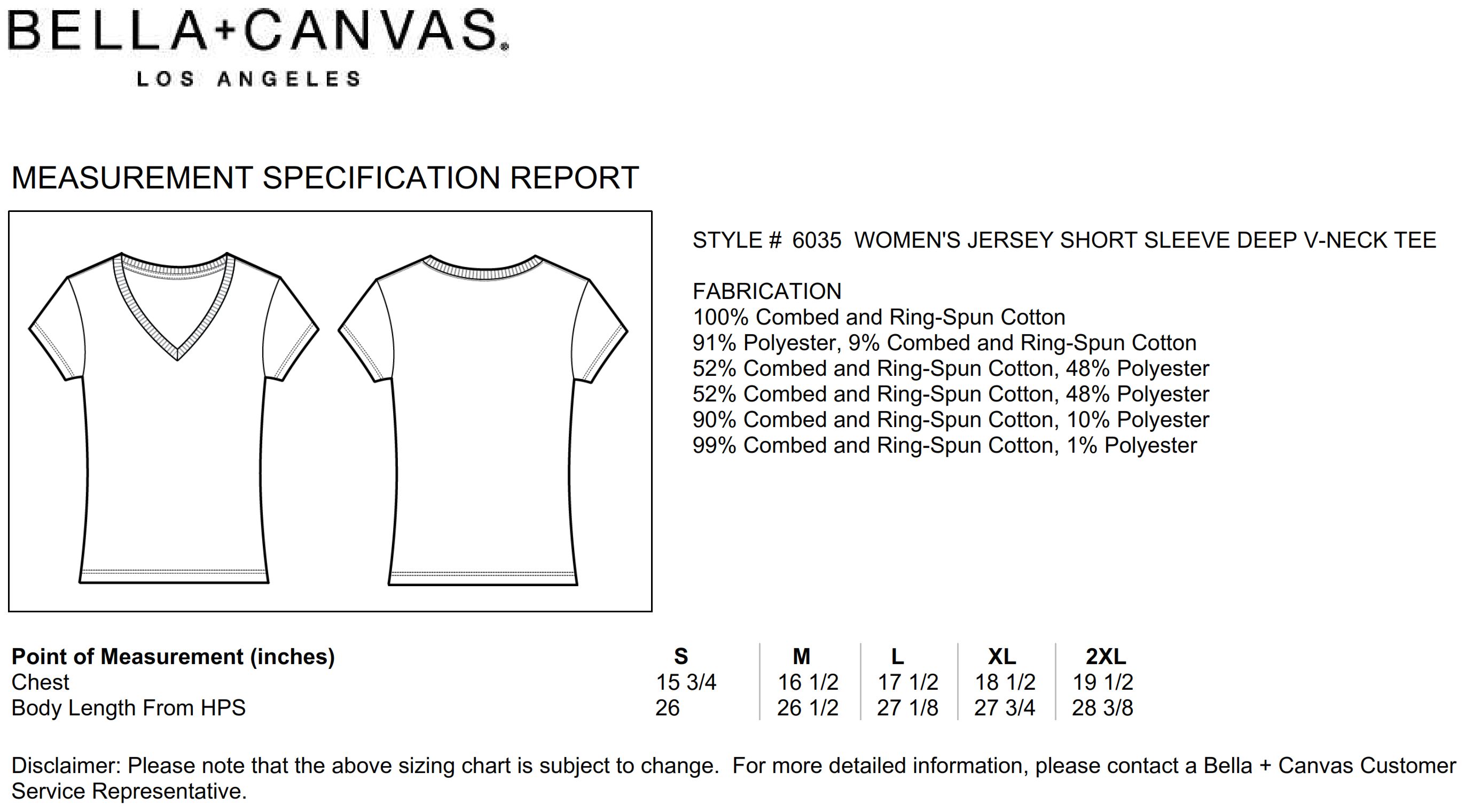 Bella+Canvas: Women`s Deep V-Neck Jersey T-Shirt 6035