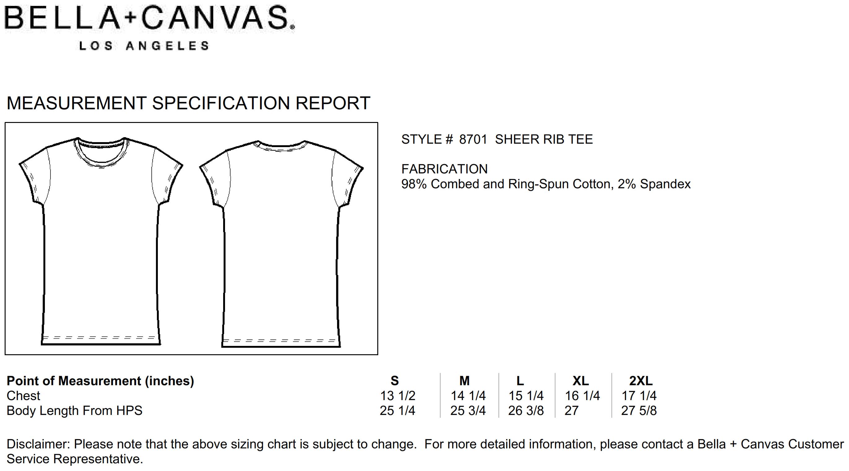Bella+Canvas: Sheer Mini Rib T-Shirt 8701:00:00
