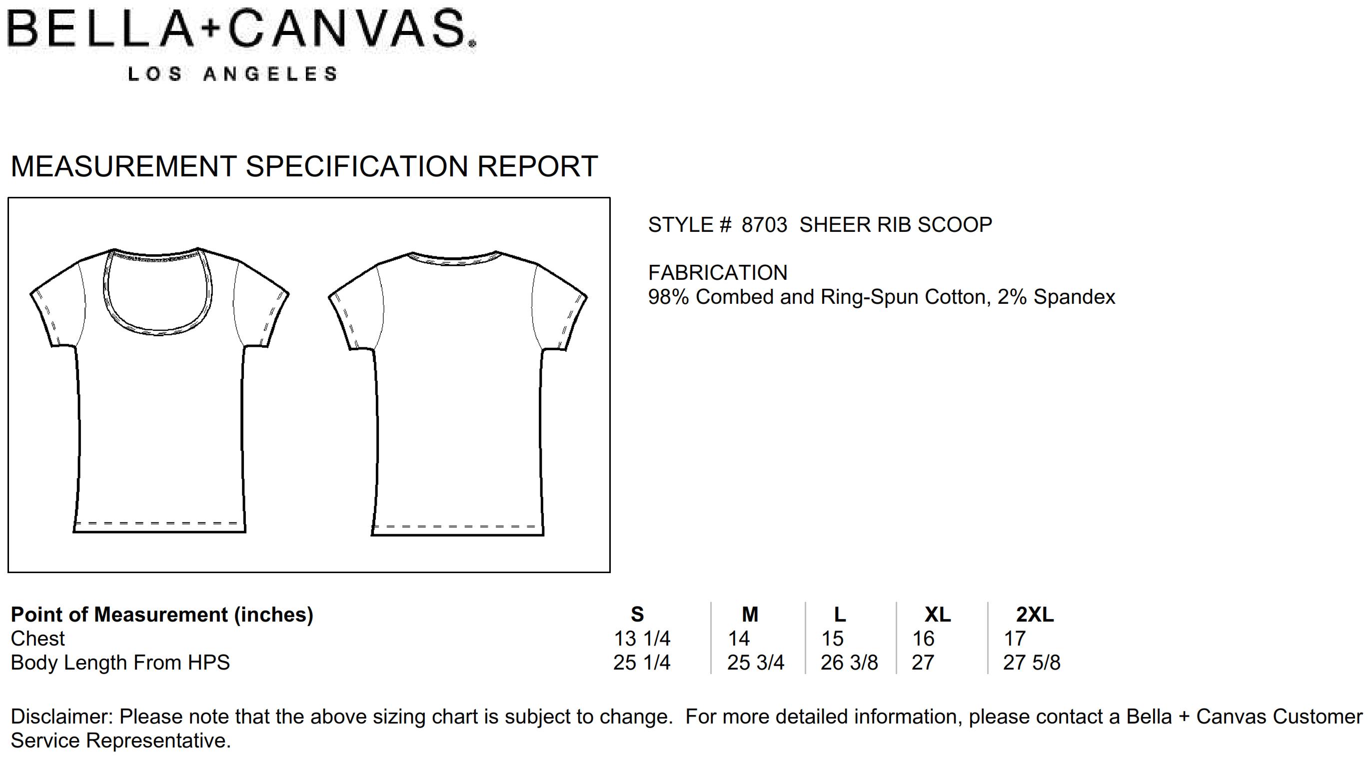 Bella+Canvas: Sheer Mini Rib Scoop Neck T-Shirt 8703:00:00