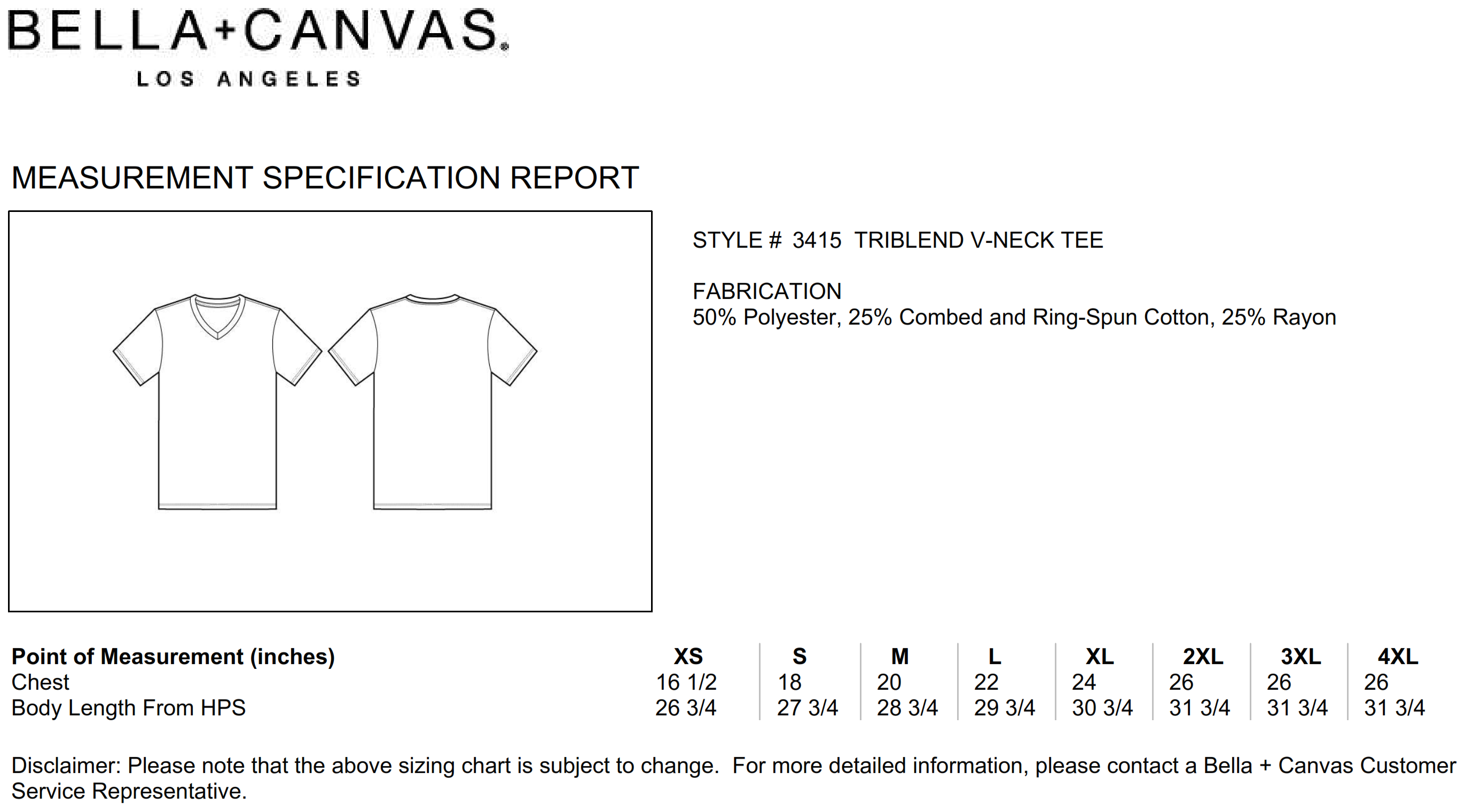 Bella+Canvas: Unisex Triblend V-Neck T-Shirt 3415