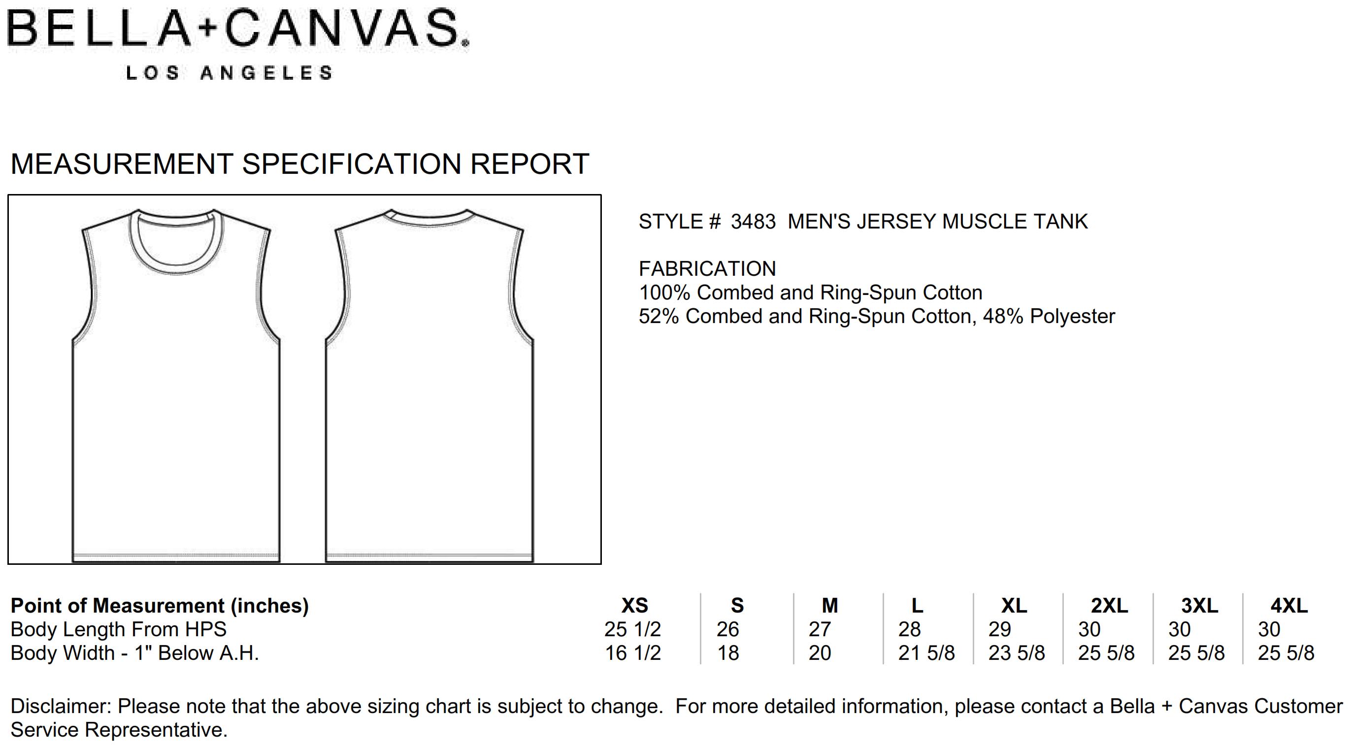Bella+Canvas: Men`s Jersey Muscle Tank Top 3483