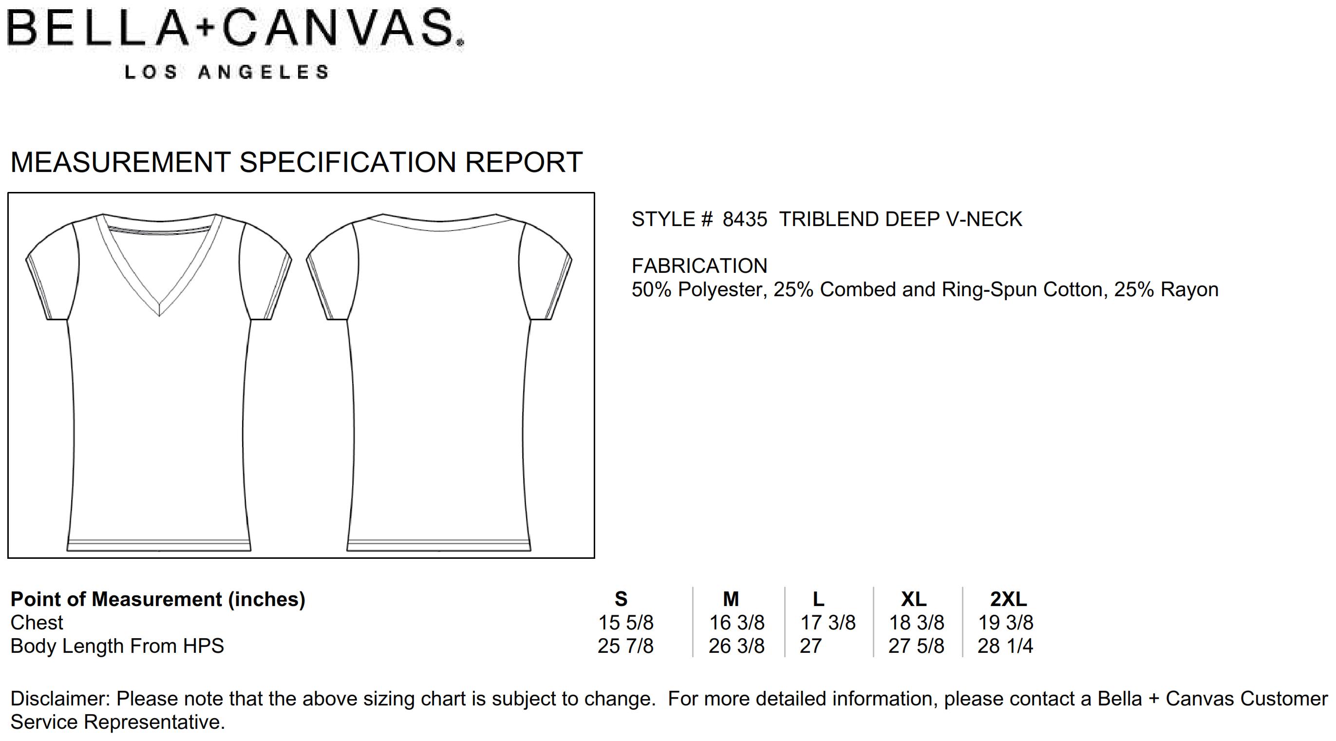 Bella+Canvas: Women`s Triblend Deep V-Neck T-Shirt 8435
