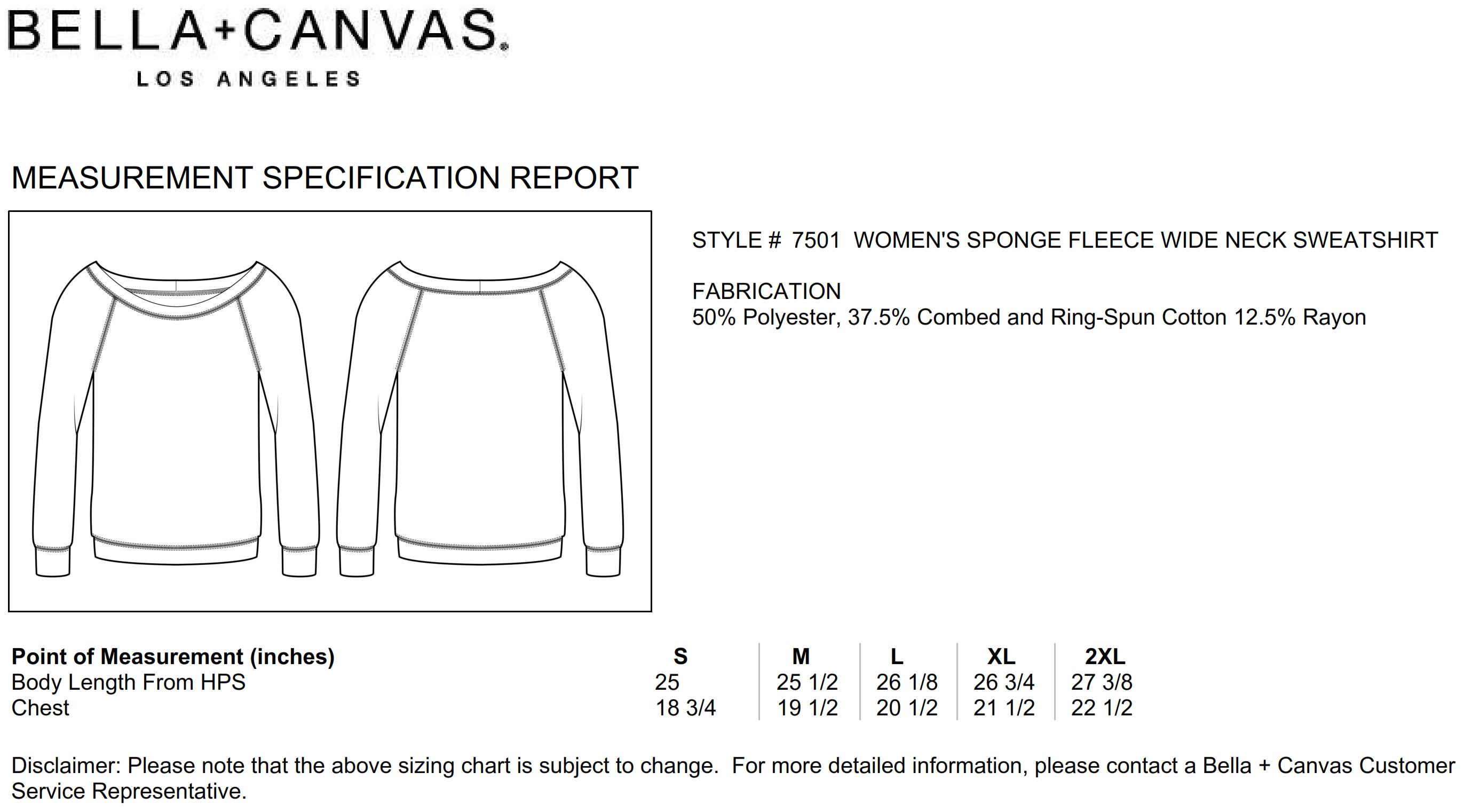 Bella+Canvas: Sponge Fleece Wideneck Sweatshirt 7501