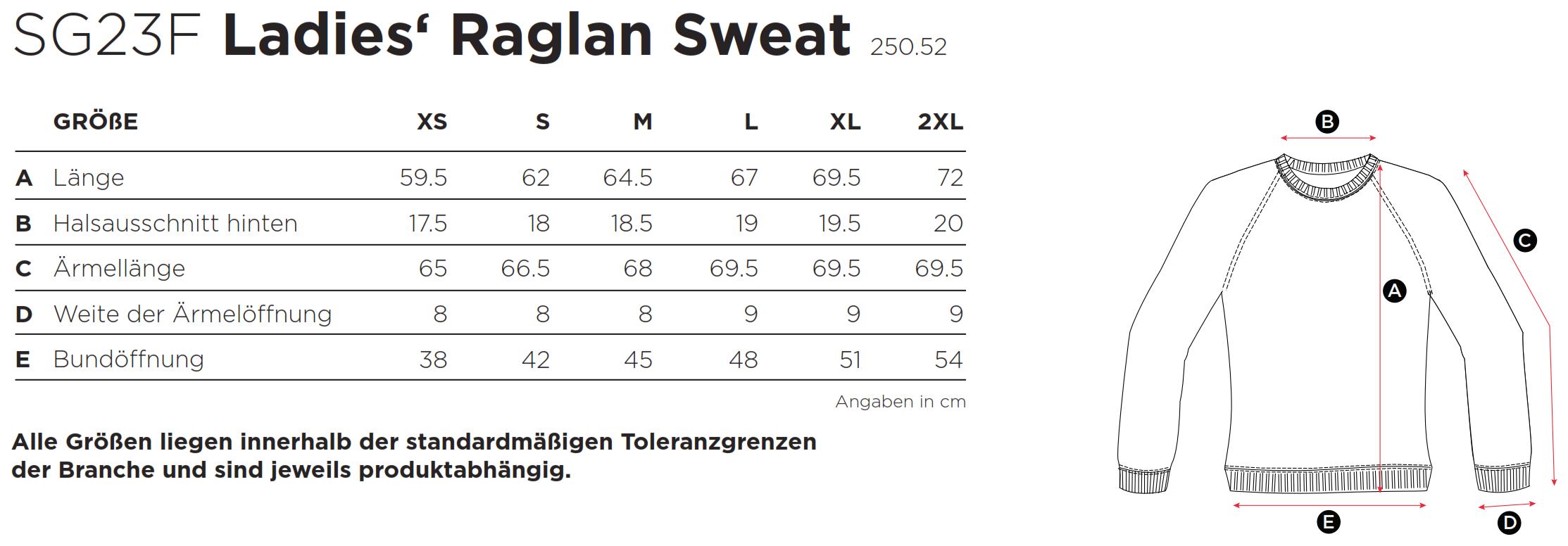 SG: Ladies` Raglan Sweat SG23F