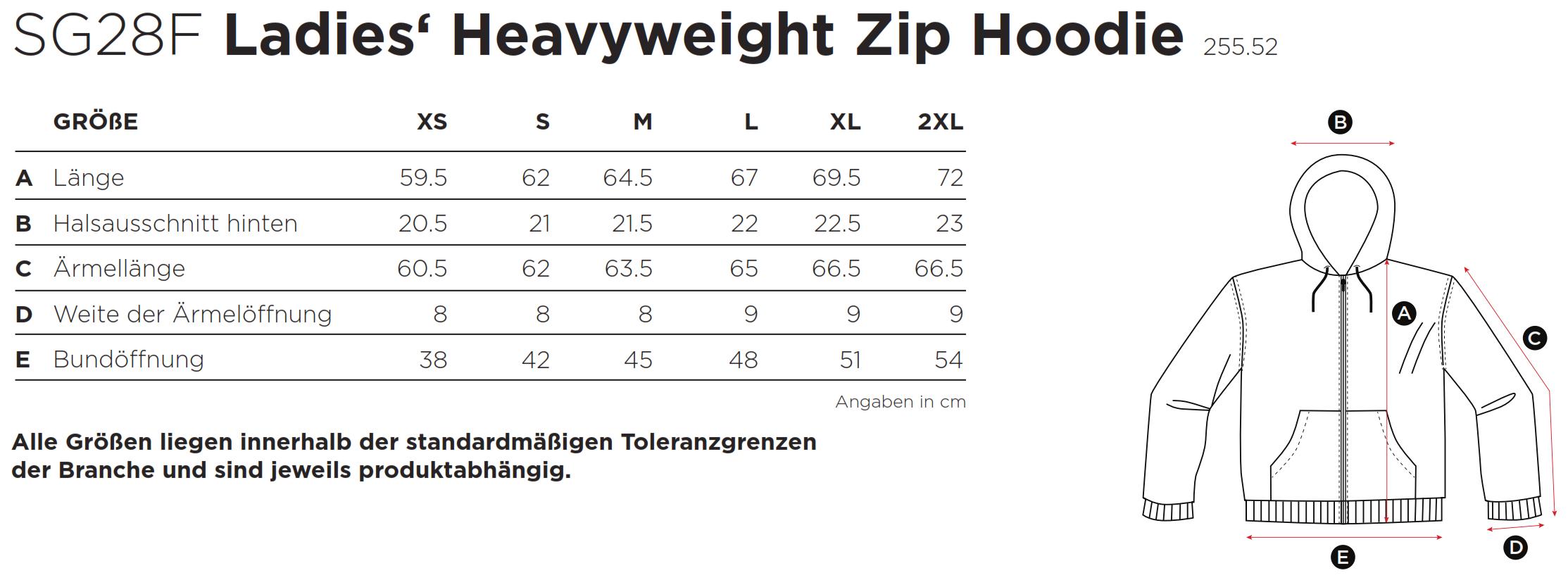 SG: Ladies` Heavyweight Full Zip Hoodie SG28F