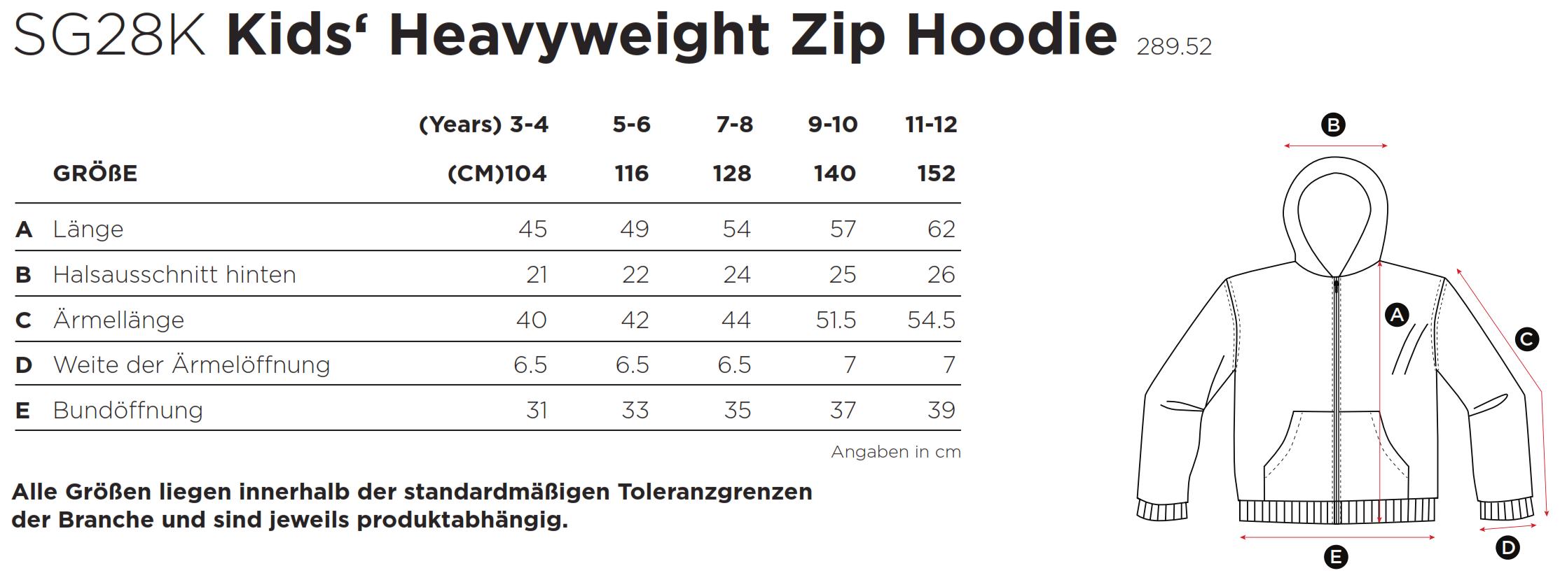 SG: Kids` Heavyweight Full Zip Hoodie SG28K