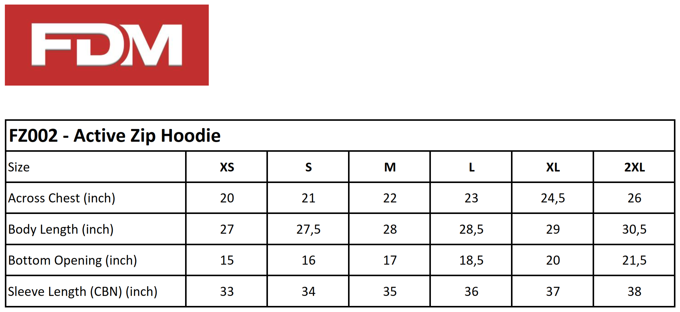 FDM: Active Zip Hoodie FZ002