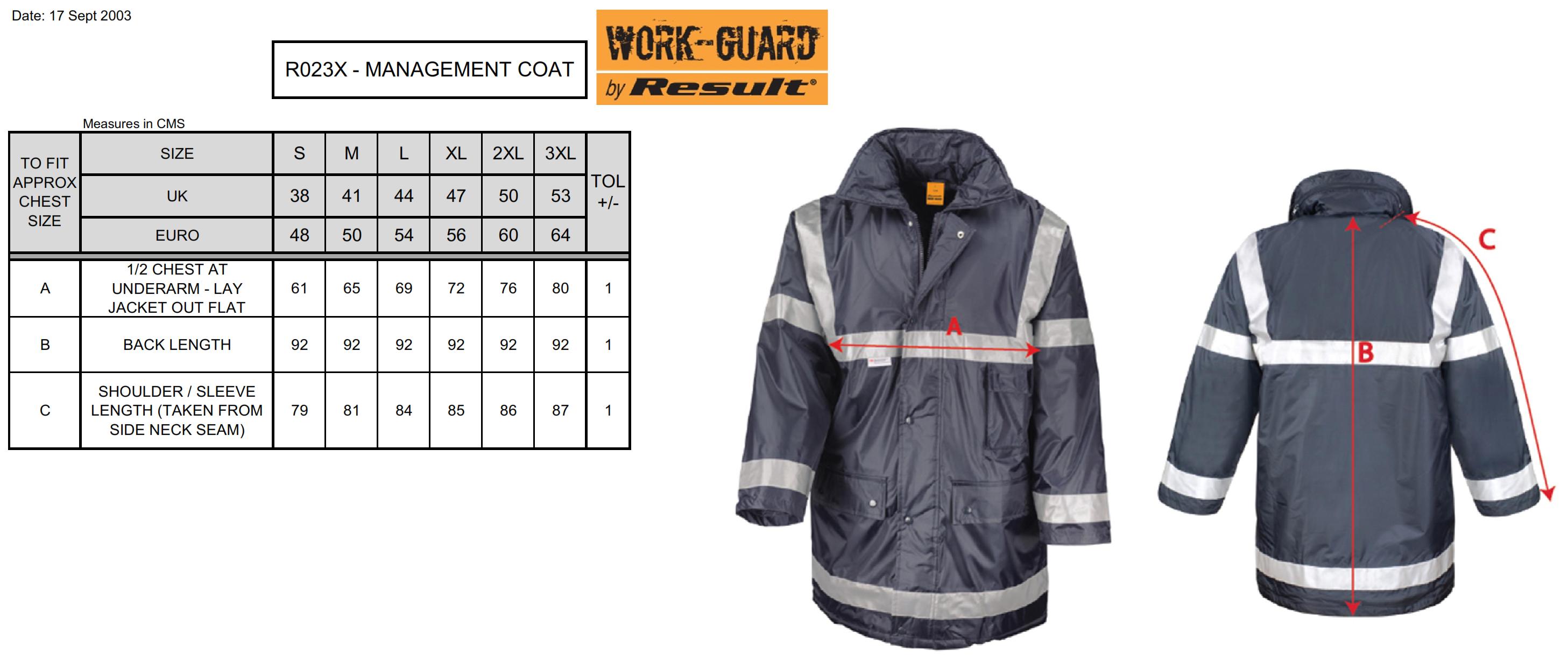 Result: Management Coat/Sicherheitsjacke R023X