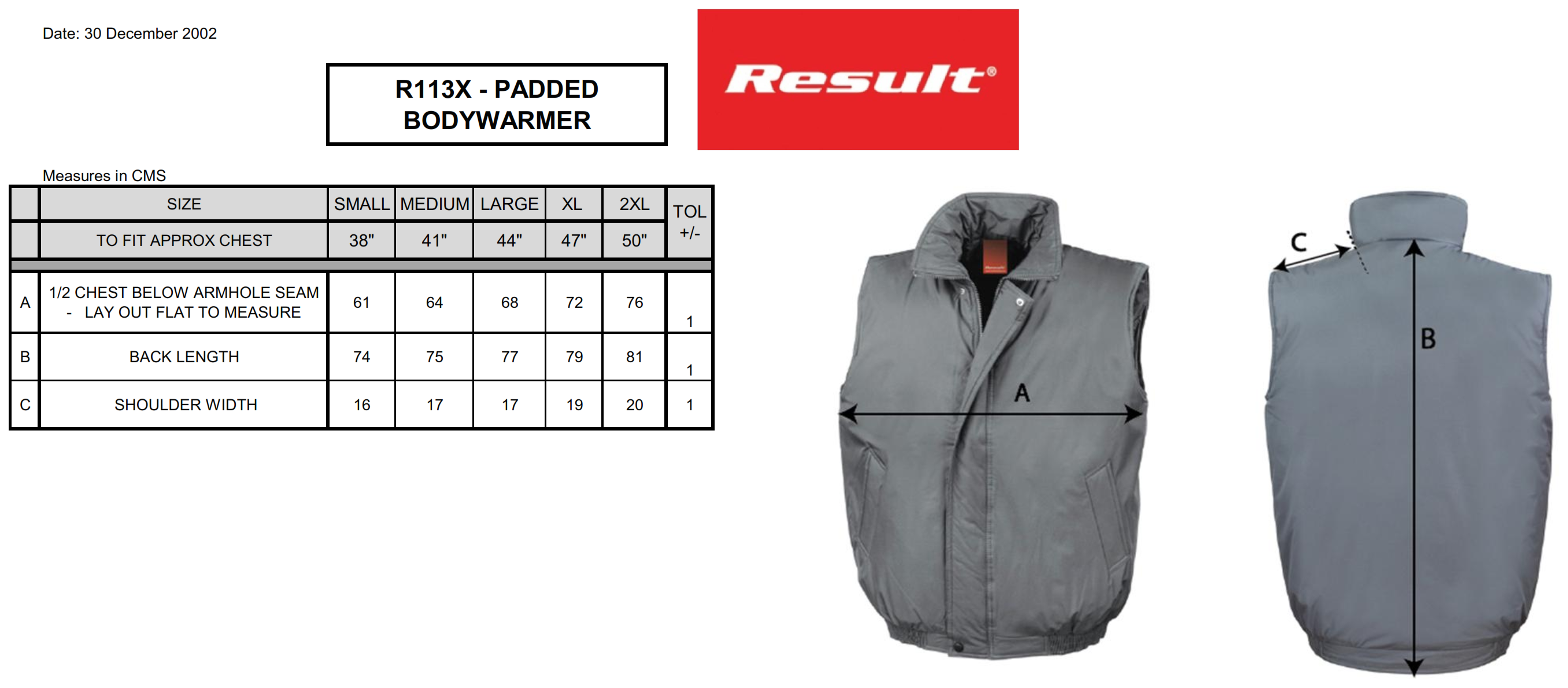 Result: Padded Bodywarmer R113X
