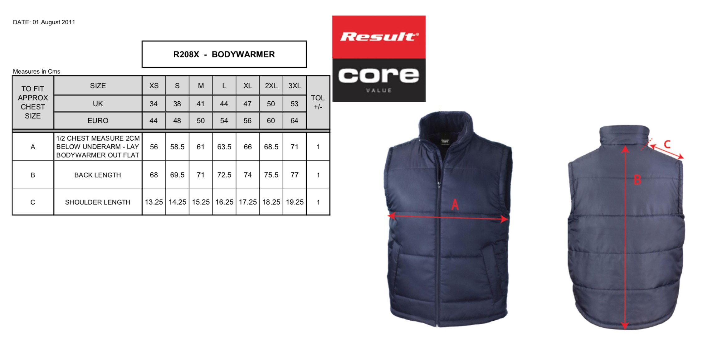 Result: Core Bodywarmer R208X