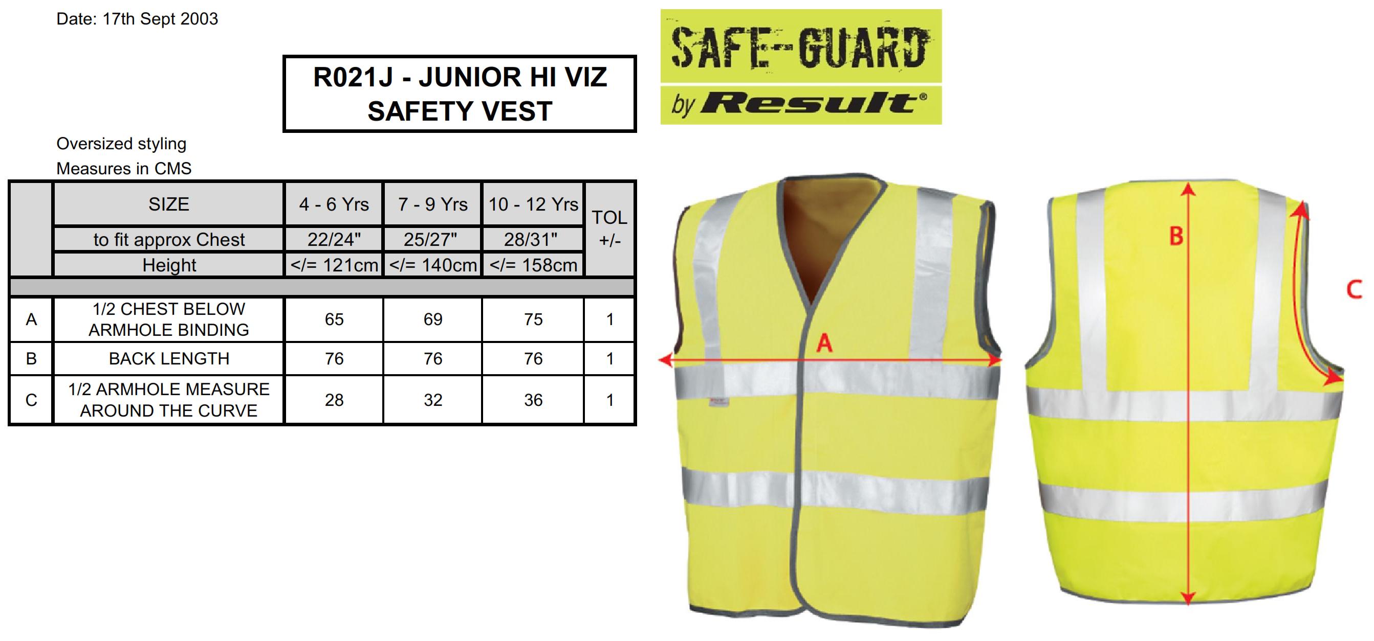 Result: Junior Hi-Vis Weste R021J