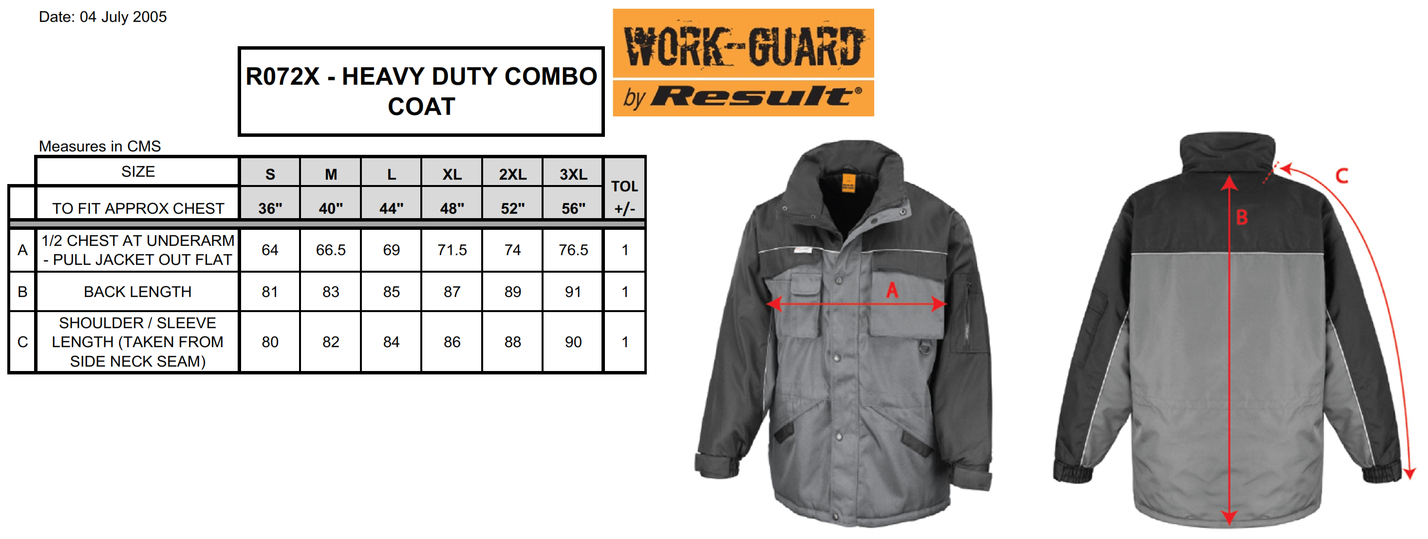 Result: Heavy Duty Combo Jacket R072X