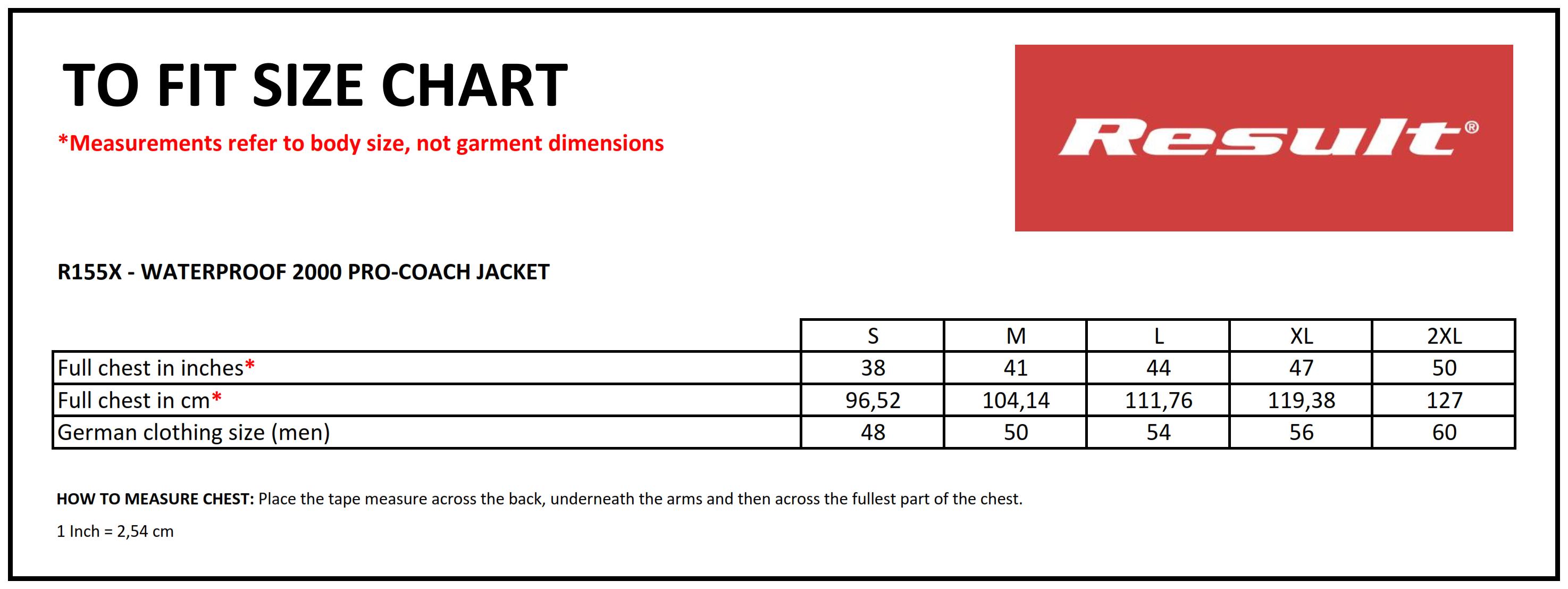 Result: Waterproof 2000 Pro-Coach Jacket R155X