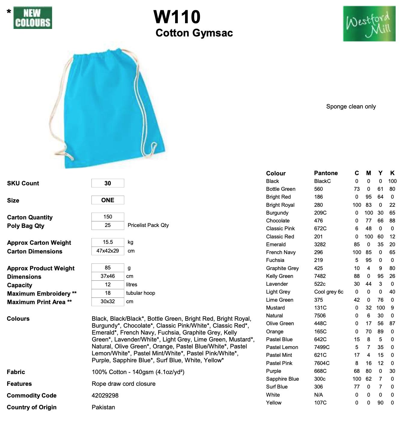 Westford Mill: Cotton Gymsac W110