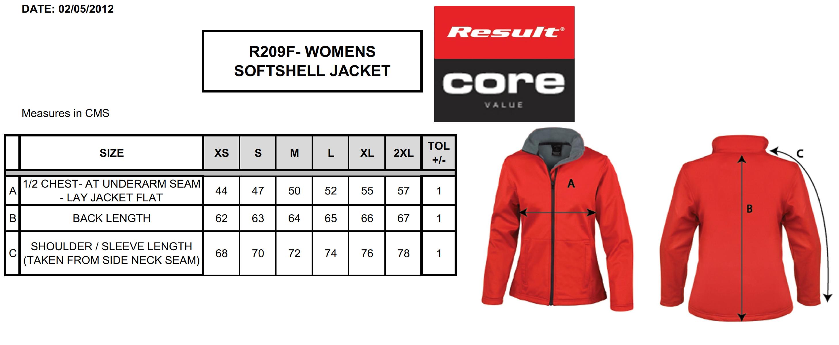 Result: Ladies` Core Softshell R209F