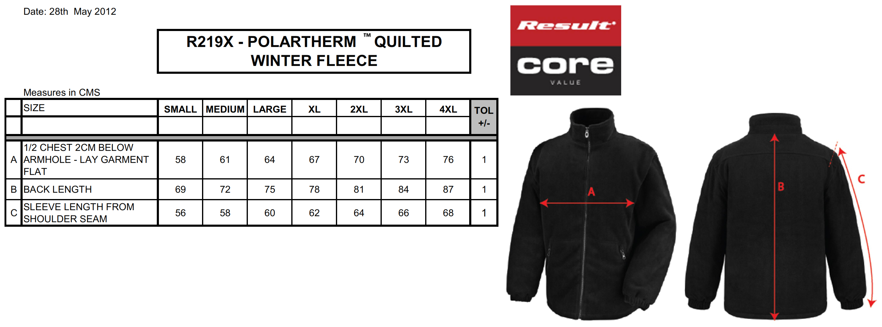 Result: Core Polartherm™ Quilted Winter Fleece R219X