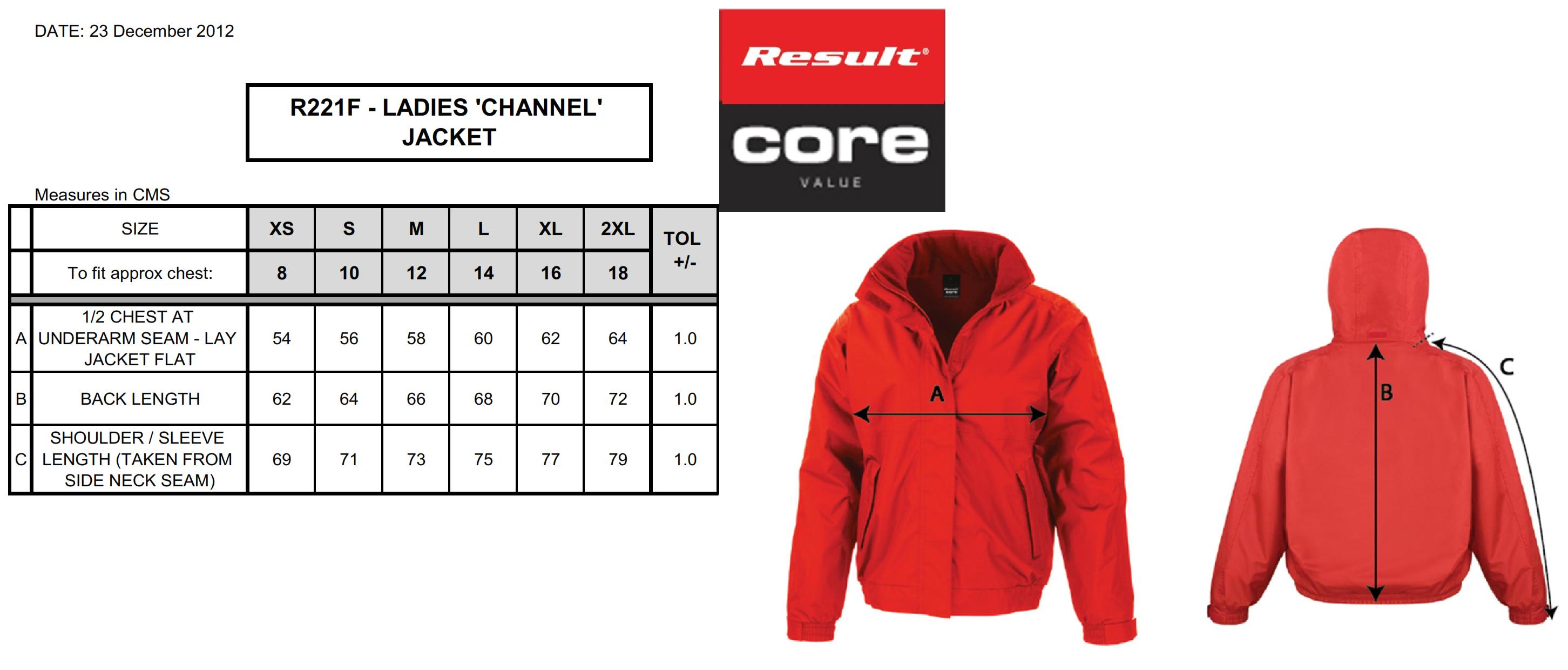 Result: Ladies` Channel Jacket R221F