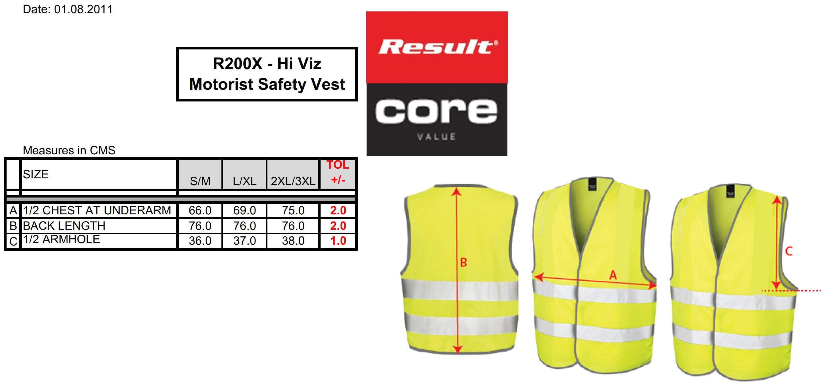 Result: Core Motorist Safety Vest R200X
