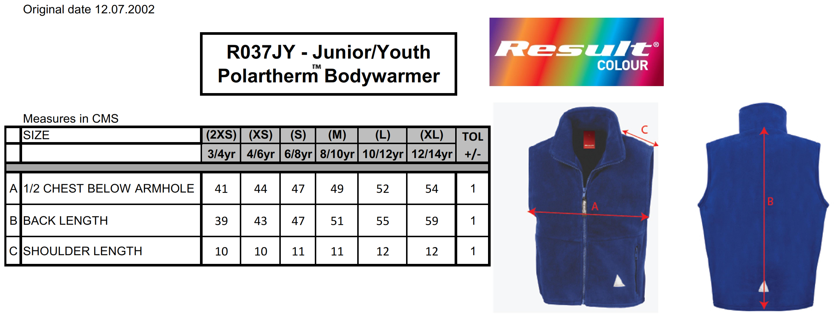 Result: Kids` Fleece Bodywarmer R037J/Y
