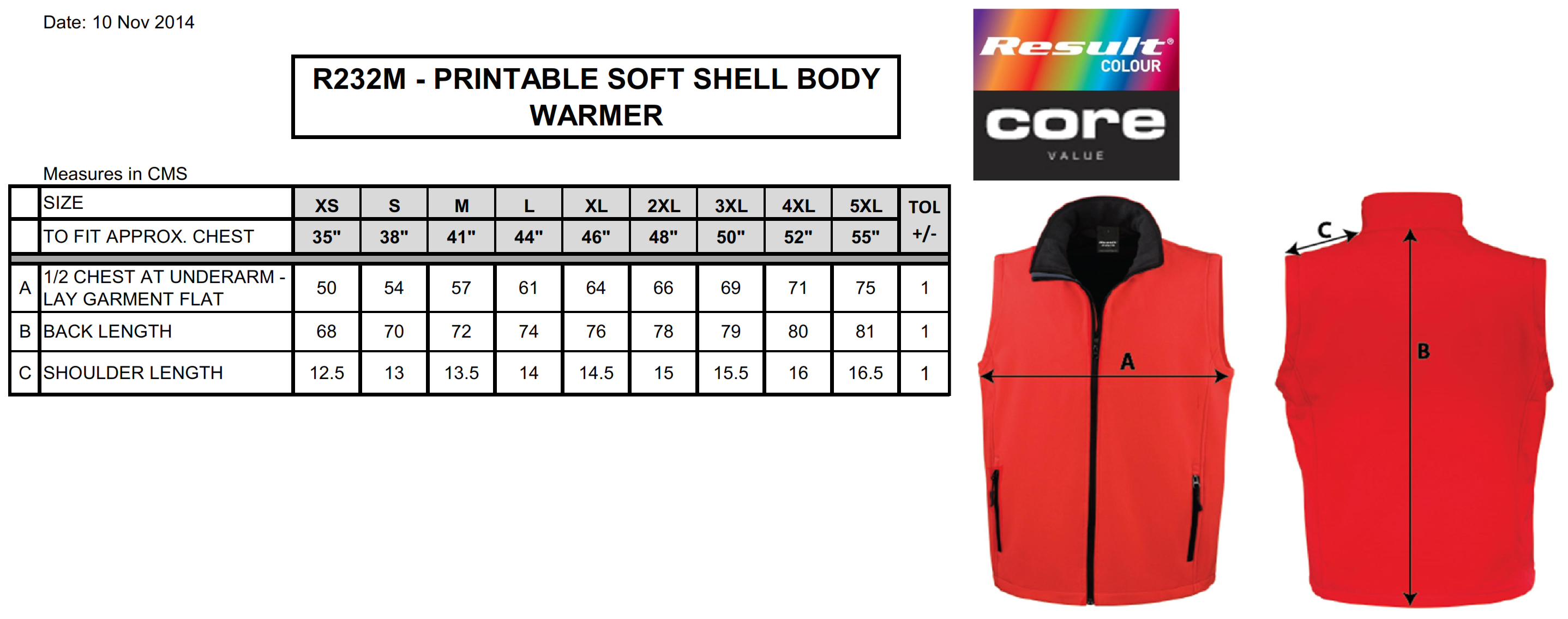 Result: Bedruckbarer Herren Softshell Bodywarmer R232M
