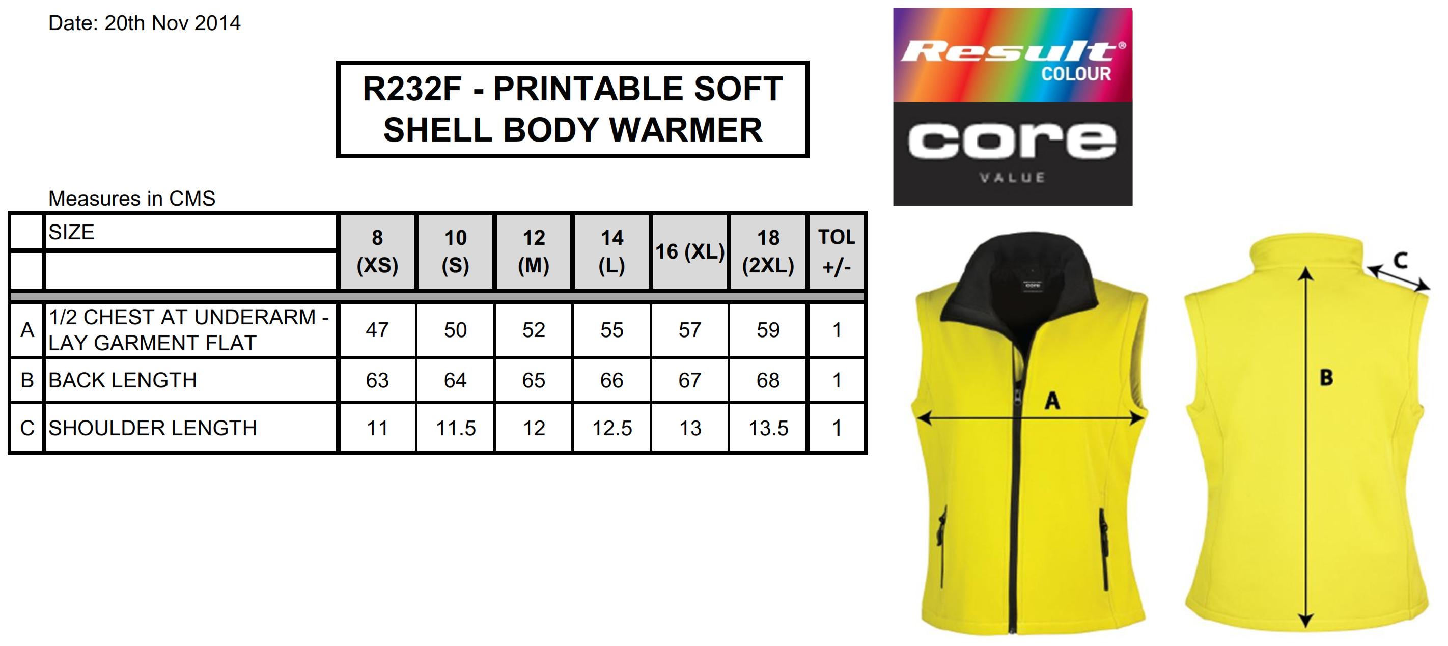 Result: Bedruckbarer Damen Softshell Bodywarmer R232F