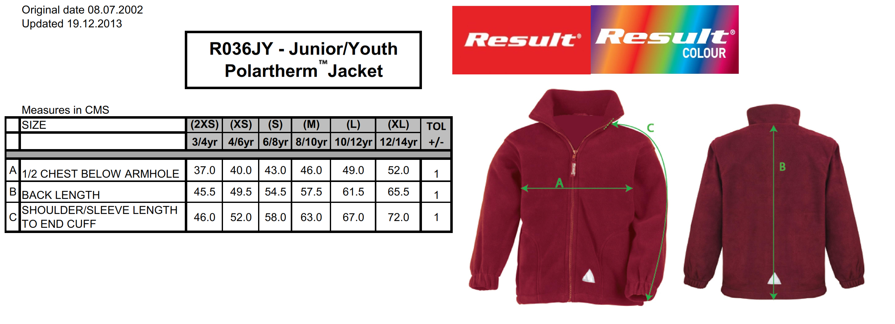 Result: Kids` Fleece Jacke R036J/Y