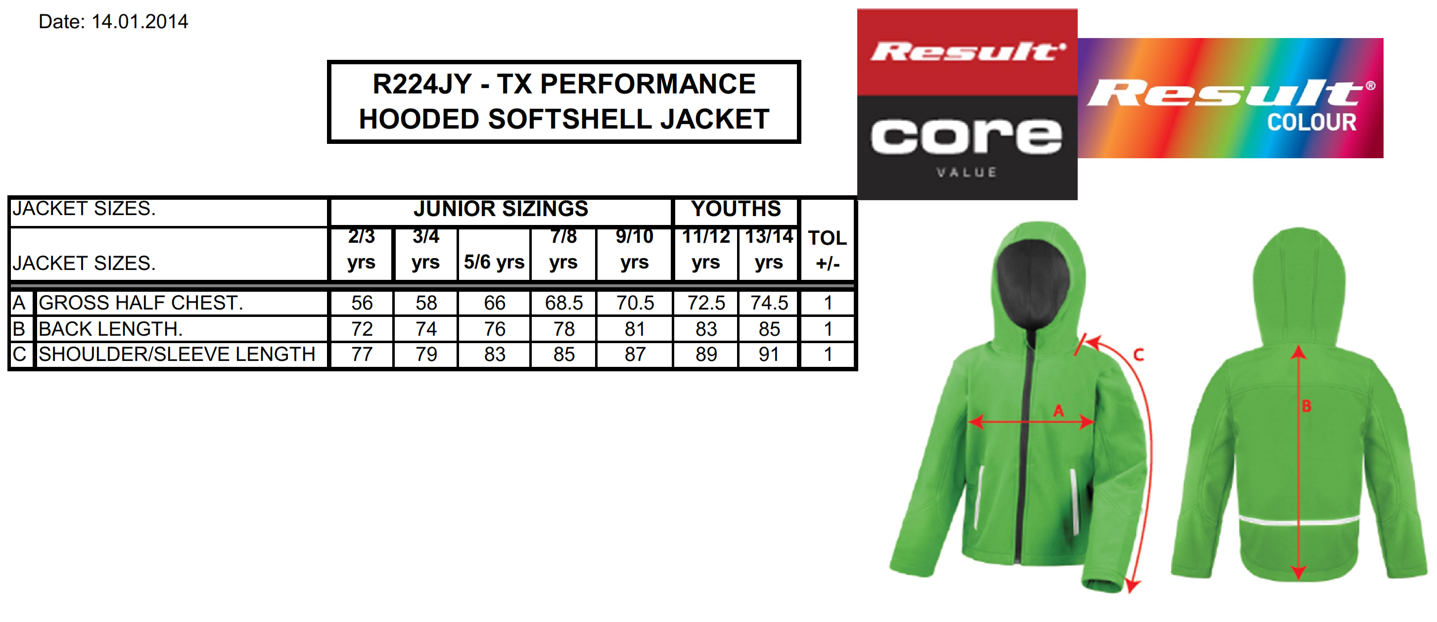 Result: Kids TX Performance Hooded Softshell Jacket R224J/Y