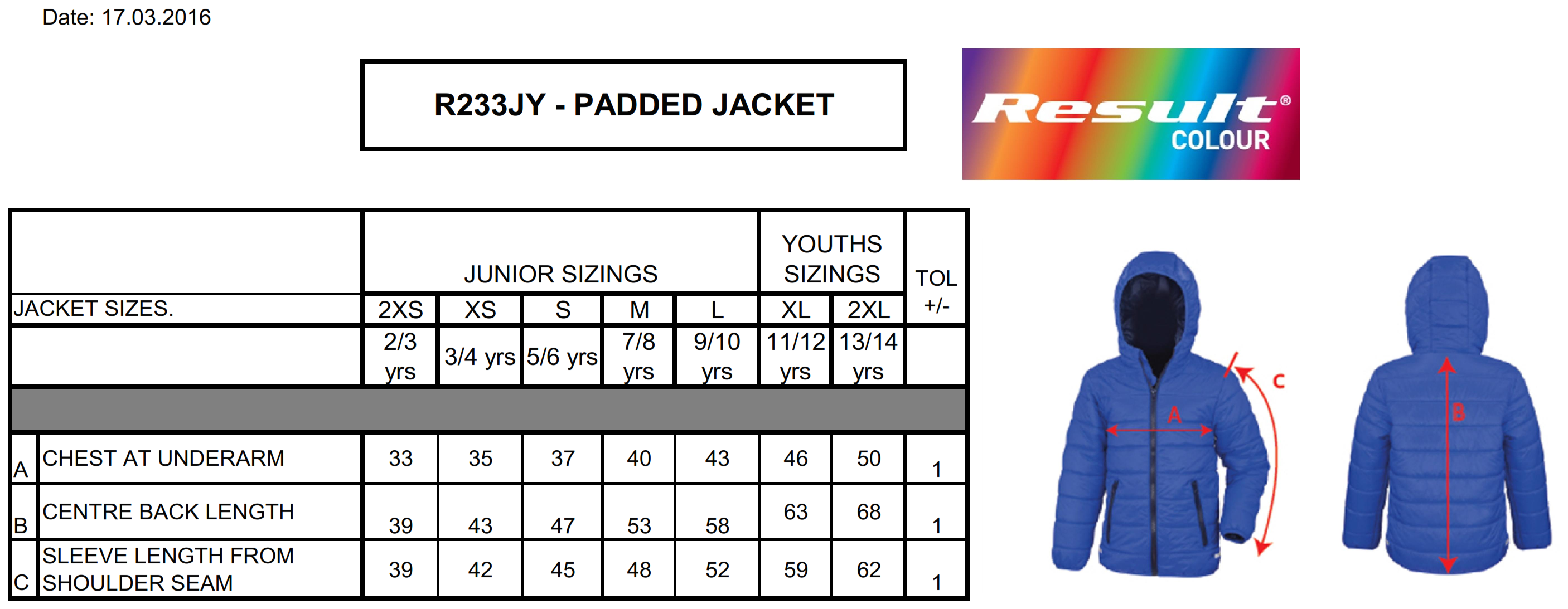 Result: Junior/Youth Padded Jacket R233J/Y