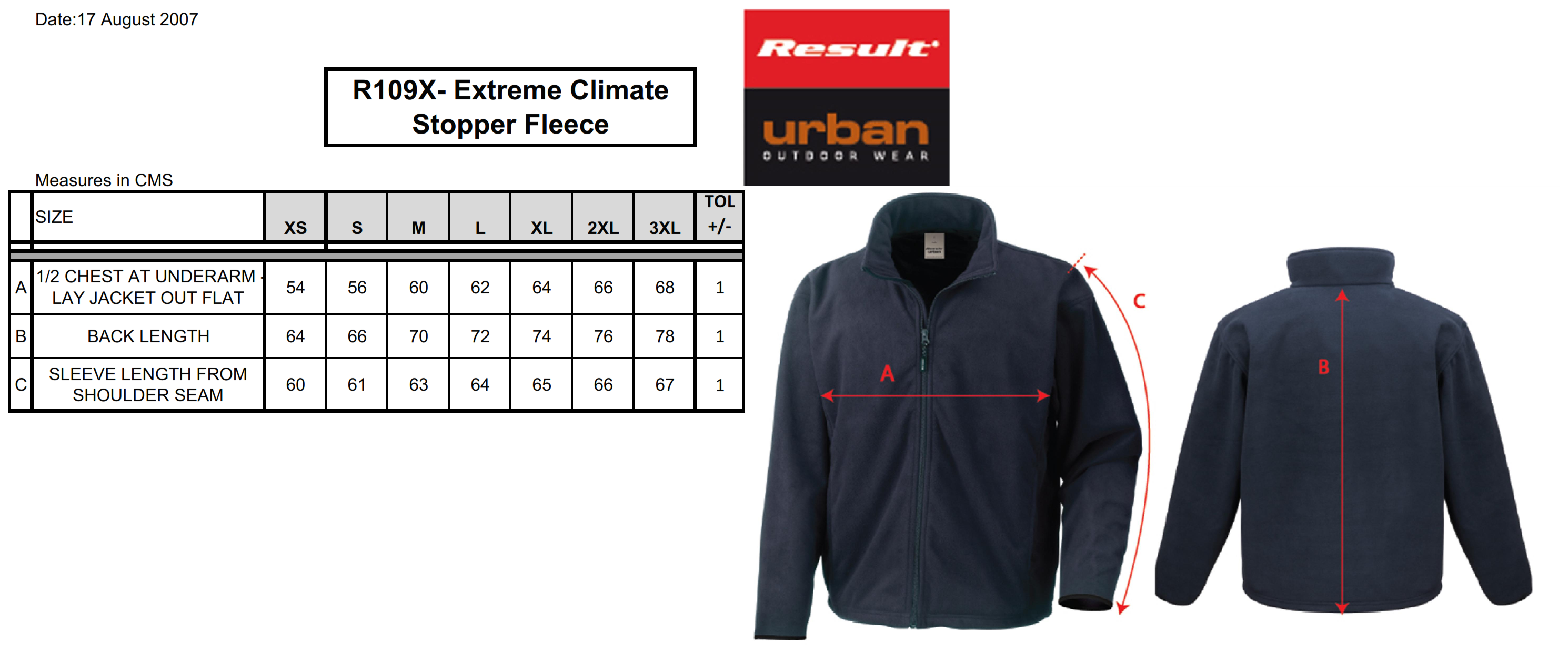 Result: Climate Stopper Water Resistant Fleece R109X