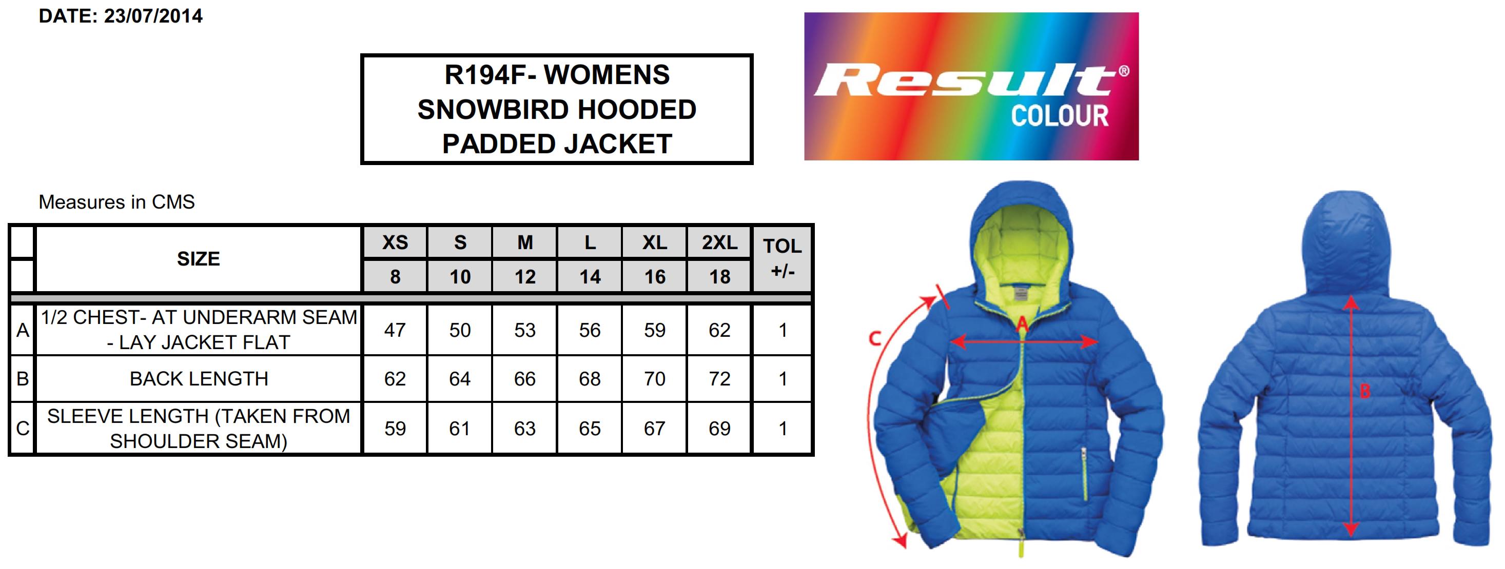 Result: Ladies` Snow Bird Hooded Jacket R194F