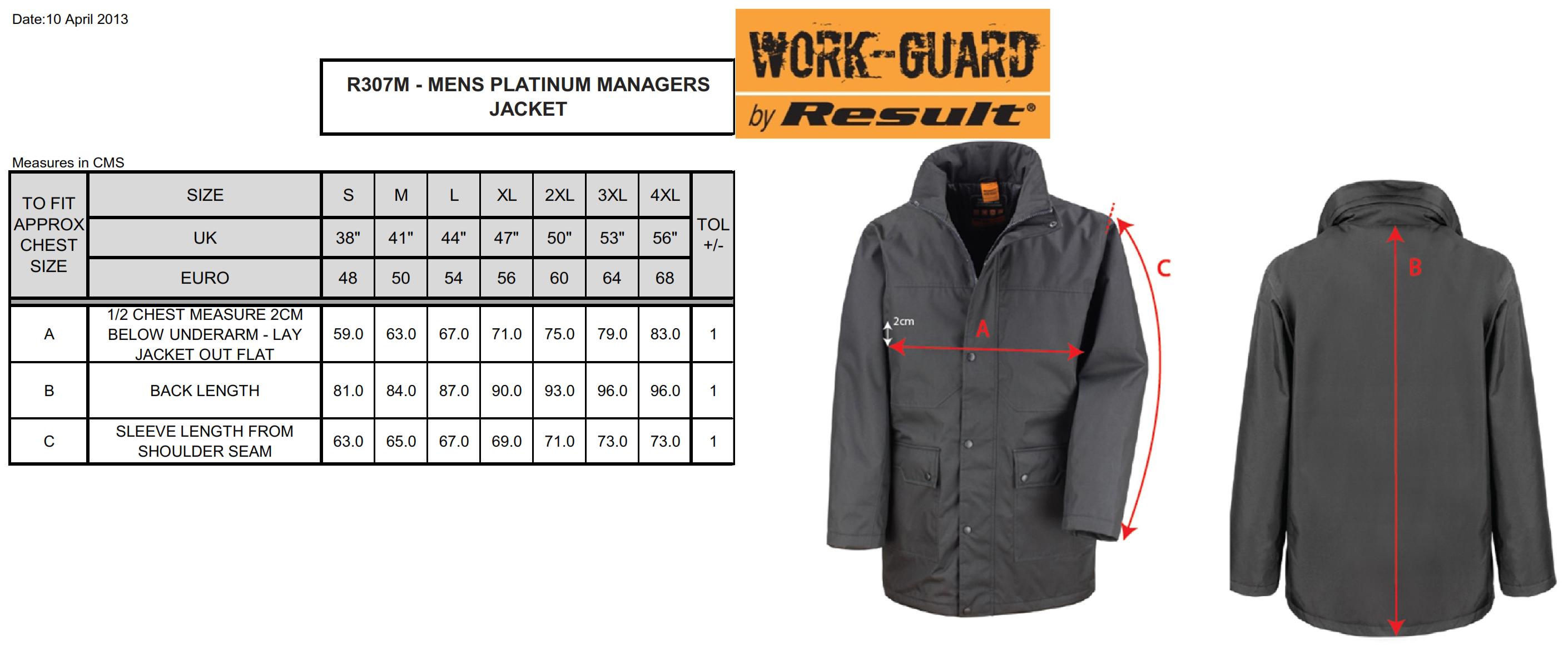 Result: Platinum Managers Jacket R307M