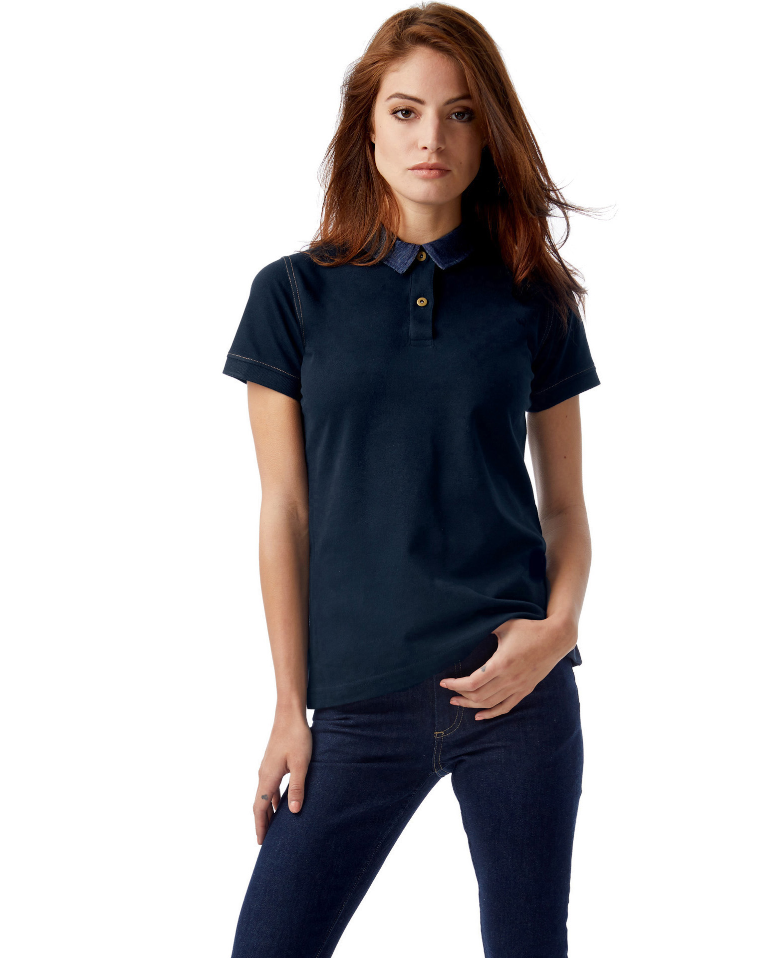 B&C: Ladies` Denim Collar Piqué Polo Forward Women PWD31