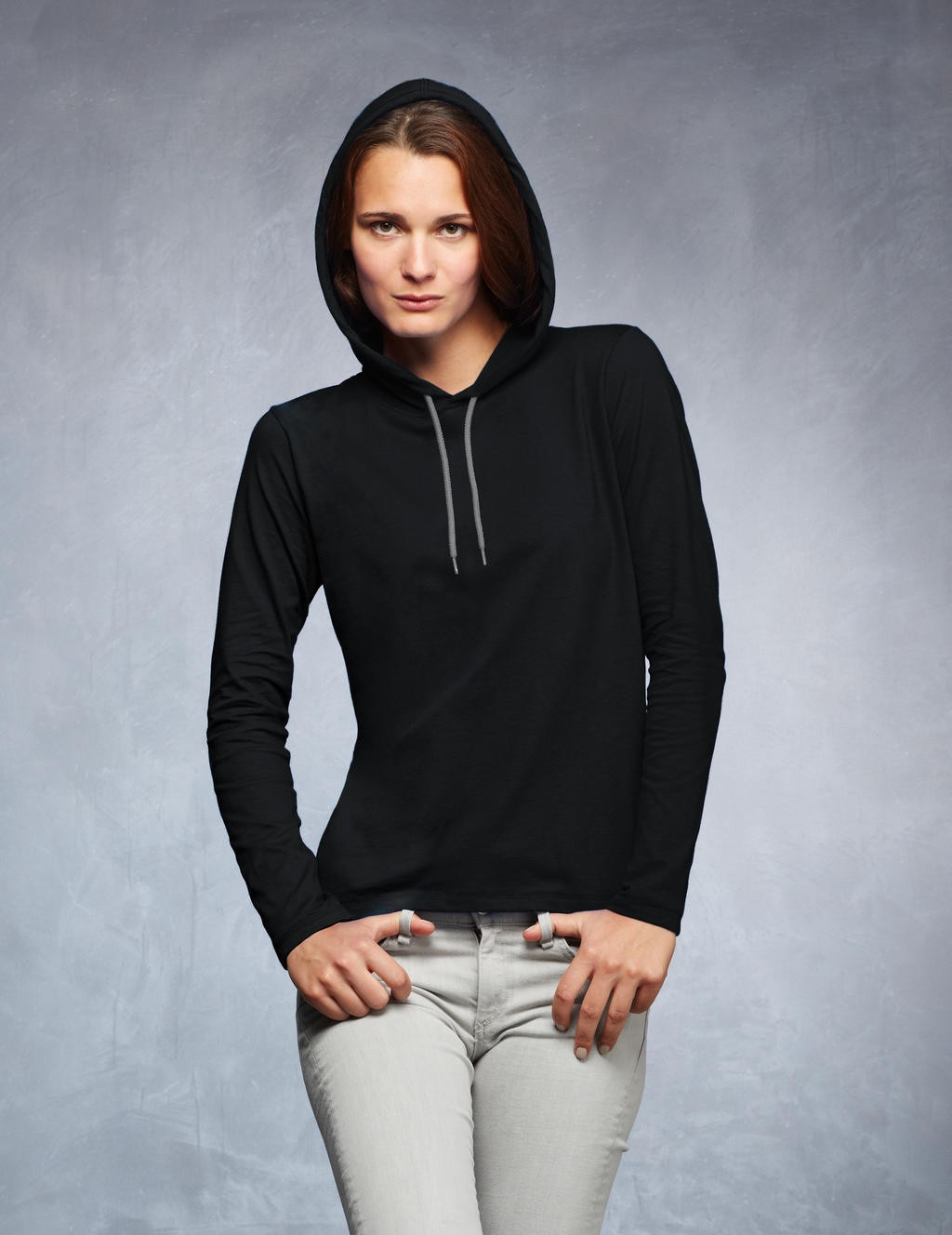 Anvil: Women`s Fashion Basic LS Hooded Tee 887L