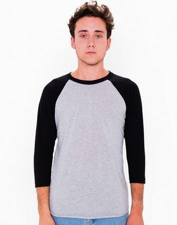 American Apparel: Unisex Poly-Cotton 3/4 Sleeve Raglan T-Shirt BB453W – Bild 2