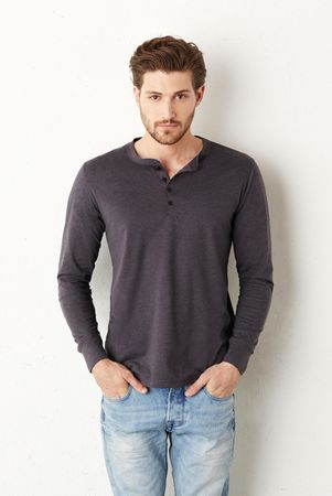 Bella+Canvas: Jersey Long Sleeve Henley 3150 – Bild 1