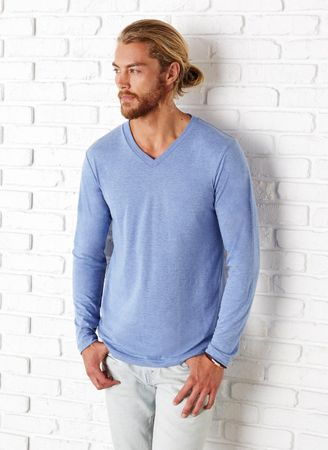 Bella+Canvas: Men`s Triblend LS V-neck T-Shirt 3425 – Bild 1