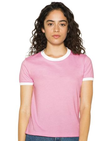 American Apparel: Women`s Poly-Cotton Ringer T-Shirt BB310W