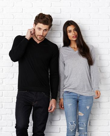 Bella+Canvas: Unisex V-Neck Lightweight Sweater 3985 – Bild 1